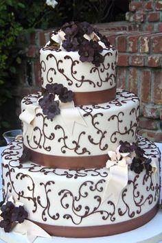 Chocolate Damask Wedding Cake