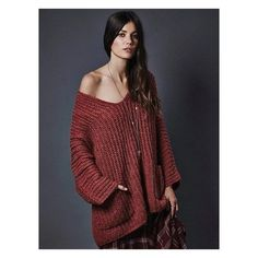 Brownish Red V-neck Pocket Knit Jumper ($50) ❤ liked on Polyvore featuring tops, sweaters, jumpers sweaters, v neck knit top, red knit sweater, knit sweater and v neck tops