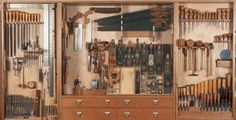 shaker woodworking tool cabinet.