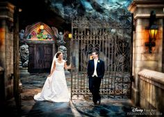 Bride and groom at Be Our Guest Restaurant in Magic Kingdom