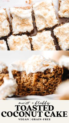 Coconut Recipes, Vegan Dessert Recipes, Paleo Cake Recipes, Gf Cake Recipe, Vegan Coconut Cake, Toasted Coconut, Healthy Desserts, Delicious Desserts, Yummy Food