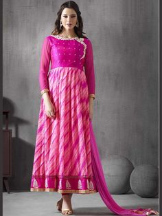 Pink+Color+Embroidered+Ankle+Length+Anarkali+Suit+with+Churidar