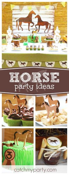 Check out this fantastic Horse theemd birthday party. The dessert table & backdrop are awesome!! See more party ideas and share yours at CatchMyParty.com