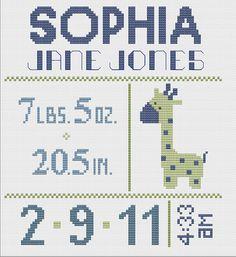 Customized Cross Stitch for Baby - Pattern - Giraffe