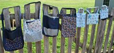 Reversible Blue Jean Totes with Quilt Patterns. $15.00, via Etsy.