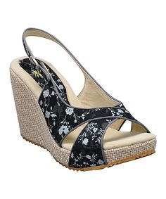Black Ditzy Slingback Wedge | Daily deals for moms, babies and kids