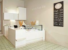 Veganista ice cream parlor by Ulrich Huhs & Gabriele Lenz, Vienna – Austria Cafe Interior, Shop Interior Design, Retail Design, Store Design, Kiosk Design, Cafe Design, Interior Ideas, Visual Merchandising, Artisan Ice Cream