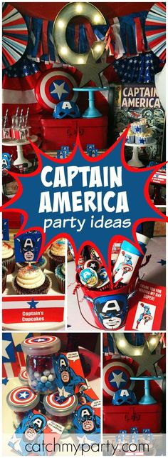 Check out this vintage Captain America birthday party! - Like this pin? Follow us, Nectar Bath Treats, for more great pins and heavenly bath & body products. 🛁💖