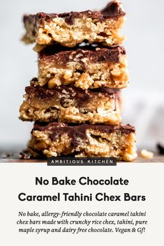 No bake allergy-friendly chocolate caramel tahini chex bars made with crunchy rice chex, tahini and pure maple syrup, then topped with Enjoy Life dairy free chocolate chips for the ultimate no bake treat that's both vegan and gluten free! Granola Bars Peanut Butter, Healthy Granola Bars, Healthy Peanut Butter, Dairy Free Chocolate Chips, Mini Chocolate Chips, Chocolate Caramels, Baking Recipes, Snack Recipes, Dessert Recipes