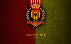 Download wallpapers KV Mechelen FC, 4k, Belgian Football Club, logo, Jupiler Pro League, leather texture, Mechelen, Belgium, Belgian First Division A, football