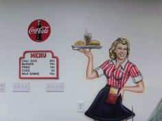PAINTING ON WALL IN DINER. WOODWARD DINER
