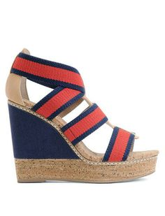 SPLENDID Blue Red Striped Canvas Leather Trim Cork Wedges Sandals Sz 7