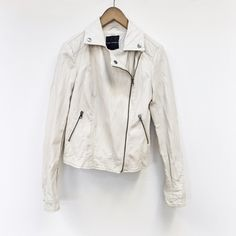 Rock + Republic | white leather moto jacket Faux-leather jacket boasting an asymmetric zip closure and two matching side pockets is from Rock & Republic's collection for Kohl's. Size Small. NEVER WORN. EXCELLENT CONDITION. NO TRADES. Rock & Republic Jackets & Coats
