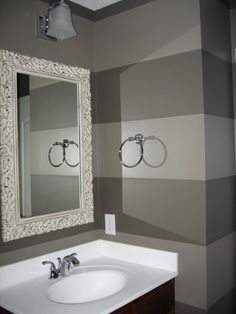 I would love this for the powder room. Just a little bit lighter with a dark mirror. I'm not sure if I will be good at painting stripes.