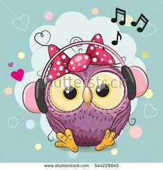 Cute cartoon Owl Girl with headphones and hearts