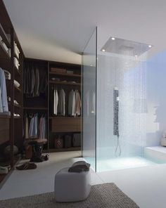 Are you planning to build a walk in closet in your new home? What do you think of this idea of having a shower in your walk in closet? Walk In Wardrobe, Walk In Closet, Wardrobe Ideas, Master Closet, Closet Ideas, Wardrobe Room, Closet Space, Douche Design, Men Closet