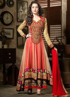 #ShraddhaKapoor Georgette & Net Zari Work Red Semi Stitched #Long #Anarkali #Suit This georgette and net red salwar suit is a typical floor length anarkali. This anarkali particularly stands out because the flare of the anarkali has been done by an extra layer of net fabric, underneath which lies the straight cut georgette fabric. This is very creative and refreshing.  #StayTrendyWithIndiaRush