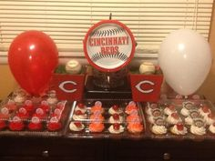 Reds Baseball Party Owen Is Turning 6 And He Loves The Cincinnati Homemade Cupcakes Balloon Weights