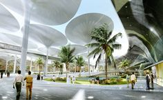 ABU DHABI- Giant umbrellas, with a design based on the principles of sunflowers, will provide   moveable shade in the day, store heat, then close and release the heat at night in   the plaza of Masdar City, the world's first sustainable city.