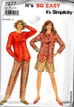 Simplicity 7977 sewing pattern: jacket/top, pants and shorts in ALL SIZES. Sizes include: 6 8 10 12 14 16 18