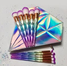 10 Piece Colourful Unicorn Makeup Brush Set/ Brushes with