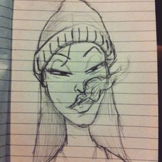 dibujo de chica fumando  Girl smoking drawing