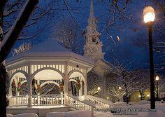 Gazebo in Keene, New Hampshire during the winter season. Christmas In England, Christmas Town, Christmas Scenes, Christmas Lights, White Christmas, Christmas Decor, Christmas Ideas, Reindeer Christmas, Christmas Photos