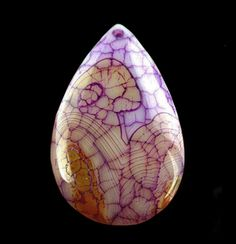 Purple-Veined Dragon Veins Agate Pear-Shaped Focal Bead
