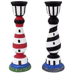 Lighthouse Candlesticks -- A pair of simple wooden candlesticks takes on a nautical theme.