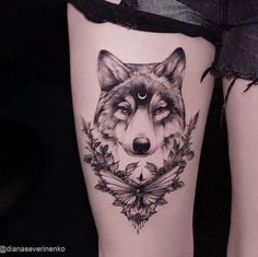 Wolf Tattoo by Diana Severinenko Wolf And Moon Tattoo, Wolf Tattoo Back, Wolf Tattoo Sleeve, Wolf Moon, Sleeve Tattoos, Tattoo Wolf, Forearm Sleeve, Music Tattoos, Body Art Tattoos
