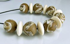 Etched Tan Ivory Silver Round Organic Lampwork by skyvalleybeads