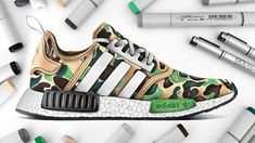 Drawing BAPE x Adidas NMD - YouTube