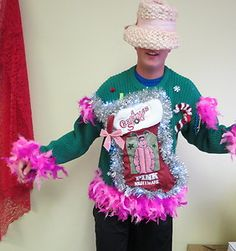 pink nightmare ugly christmas sweater light up mens sz l christmas story ebay - Pink Ugly Christmas Sweater