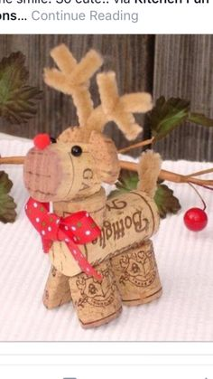 DIY reindeer cork ornament