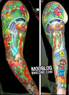 Nintendo characters. Seriously awesome Art here. ヾ(@⌒▽⌒@)ノ  Video game tattoo