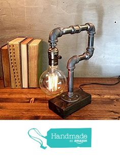 Industrial Steampunk table pipe lamp with Globe Edison bulb and Weathered wood base from Urban Industrial Craft https://www.amazon.com/dp/B01DJF3IR4/ref=hnd_sw_r_pi_dp_X9kkybJPDA753 #handmadeatamazon