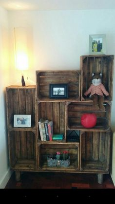 Apple crate shelf unit