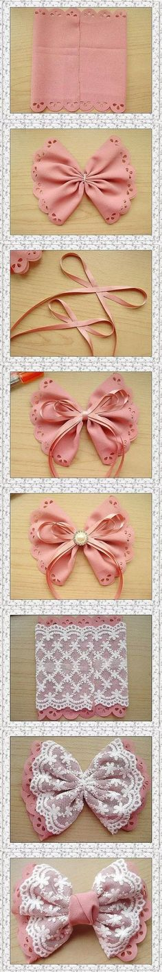 cute DIY bow tutorial - need to try this with SugarVeil On a headband or as a hair clip Lace Bows, Ribbon Bows, Ribbons, Fabric Bows, Easy Fabric Flowers, Pew Bows, Ribbon Hair, Pink Fabric, Lace Fabric