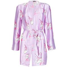f530cf7faeda Boohoo Millie Satin Unicorn Print Kimono Robe Satin Pyjama Set
