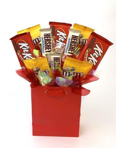 Happy Birthday - Anniversary - Chocolate Candy Bouquet - Romantic or Any Occasion Gift - Variety of Candy for Him or Her - with Balloons Chocolate Filling, Delicious Chocolate, Chocolate Lovers, Melting Chocolate, 60th Birthday, Happy Birthday, Filled Candy, Birthday Chocolates, Custom Candy