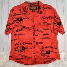a96a5bdcb755 Harley-Davidson Button Up Orange Printed HD Logo Ladies Rayon Blouse Sz Med  Button Up