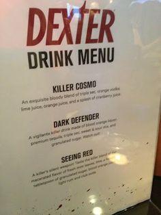Dexter Drink Menu Comic-Con