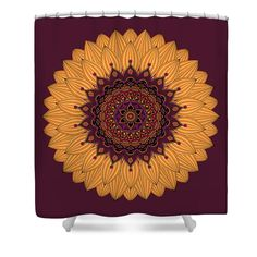 "Sunflower Mandala  Shower Curtain by Sharon Norman.  This shower curtain is made from 100% polyester fabric and includes 12 holes at the top of the curtain for simple hanging.  The total dimensions of the shower curtain are 71"" wide x 74"" tall."