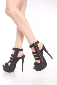 Black Faux Leather Ankle Strap Platform Heels $25
