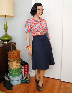 New York Patterns 1730 (c. 1940s) bias-cut skirt and McCall 4820 (1942) blouse made from vintage fabric   by gum, by golly! #sewing #vintage #1940s