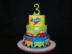 I want this cake! :) Cars, trains & airplane cake by cakesbyelisa 3rd Birthday Cakes, Cars Birthday Parties, Birthday Ideas, Third Birthday, Cupcakes, Cupcake Cakes, Little Boy Cakes, Rodjendanske Torte, Themed Cakes