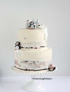 Marsispossu: Talvinen naked cake, Penguins and polar bears