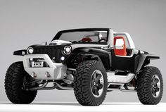 Jeep Hurricane - carbon fiber body, monocoque, dual 5.7liter hemi engines (one in front, one in the rear), and 4-wheel steering