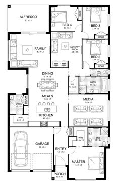 Ruby 30 - Single Level - Floorplan by Kurmond Homes - New Home Builders Sydney NSW Best House Plans, Dream House Plans, House Floor Plans, Container House Plans, Cargo Container, Container Homes, Home Design Floor Plans, Storey Homes, House Blueprints