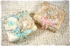 ILuvVintageScrap: Shabby Chic Tattered Keepsake Boxes, Could be used for gift boxes.  Gift wrapping design idea